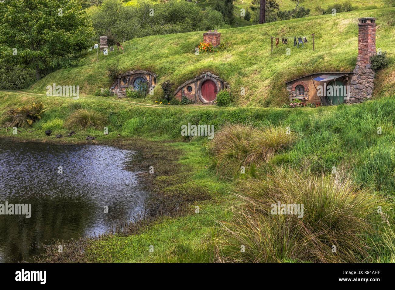 Hobbiton, Movie Set, Waikato, Matamata, New Zealand - Stock Image