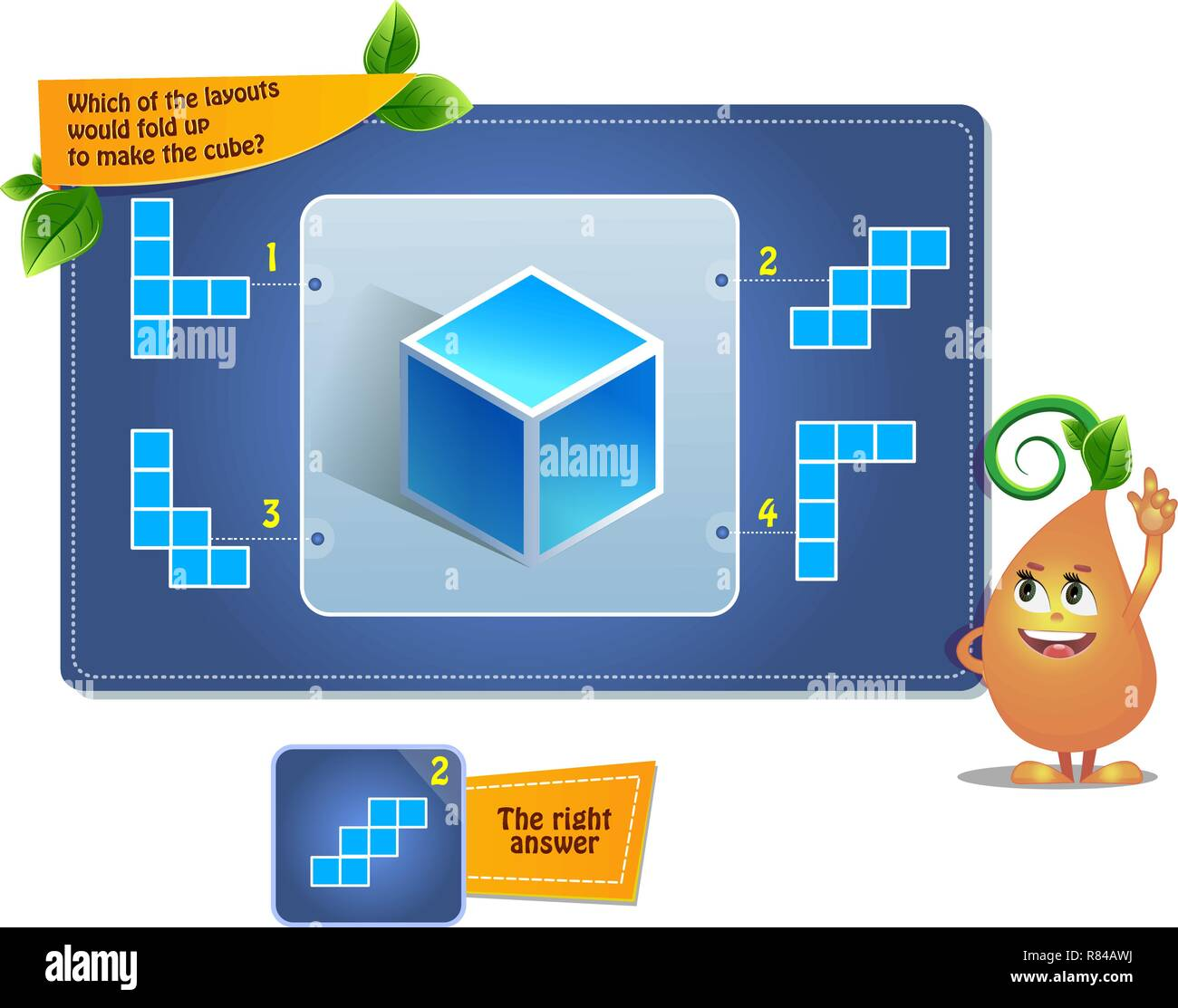 Educational Game For Kids Puzzle Development Of Spatial Thinking In Children Suitable Both For Kids And Adults Task Game Which Of The Layouts Wo Stock Vector Image Art Alamy