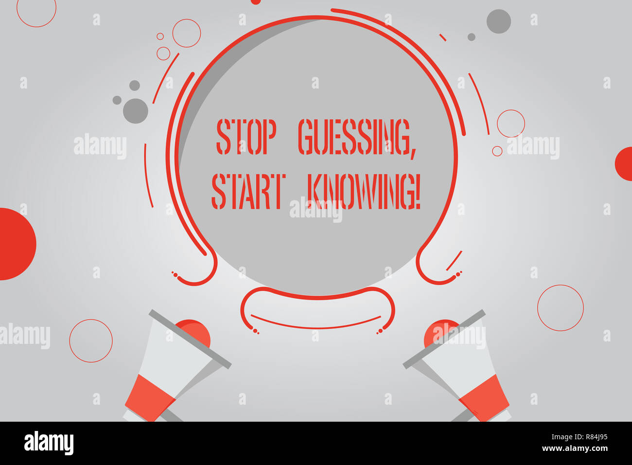 Handwriting text Stop Guessing Start Knowing. Concept meaning Do not guess get the knowledge to be sure Two Megaphone and Circular Outline with Small  - Stock Image