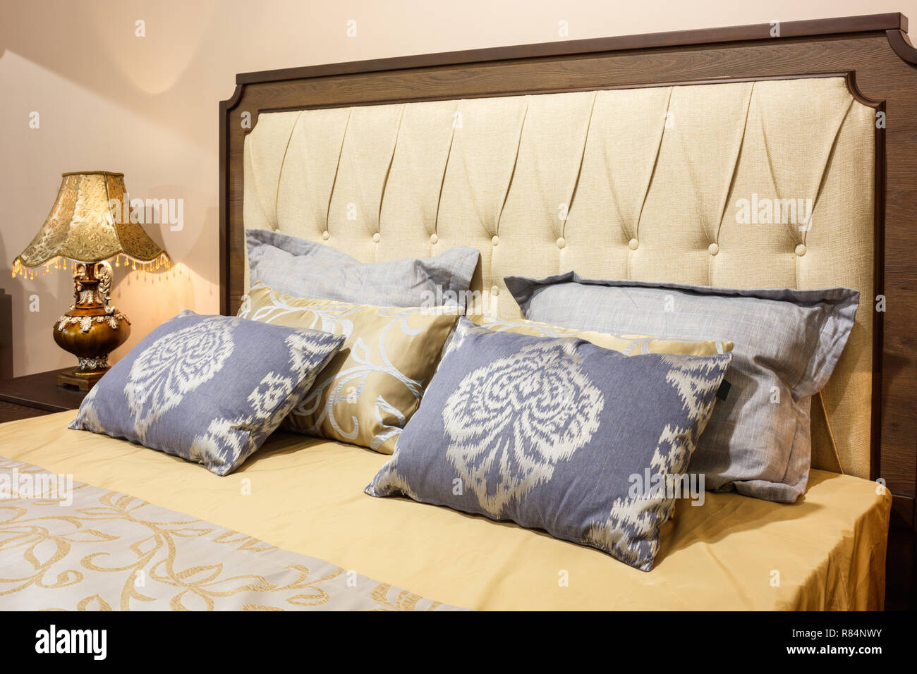 luxury modern style bedroom in yellow and blue tones, Interior of a ...