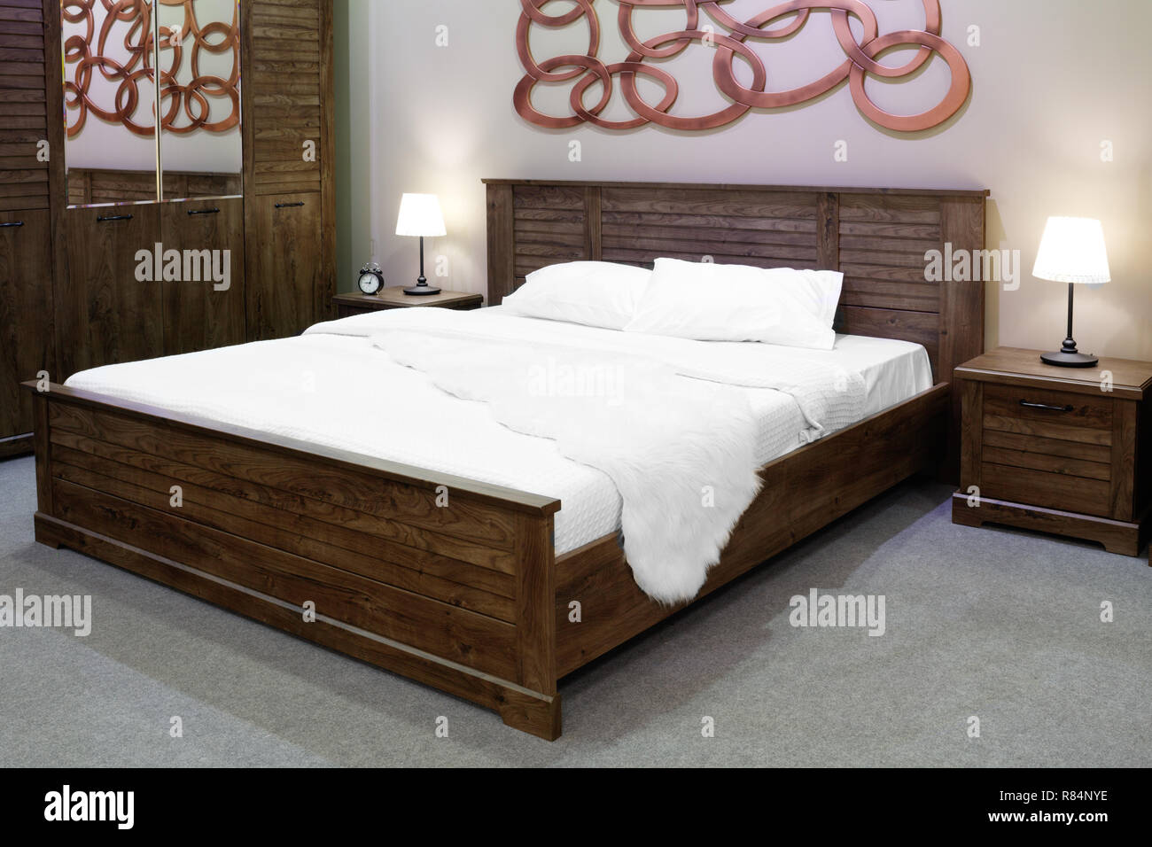Luxury Modern And Wooden Rustic Style Bedroom In Brown And Beige