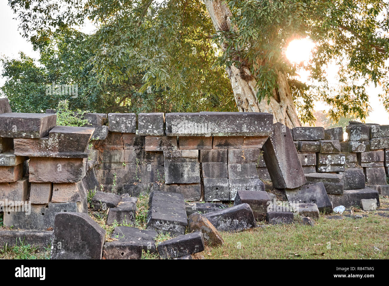 View on the ruins of the Vat Phou temple complex UNESCO World Heritage Site at sunrise time Stock Photo