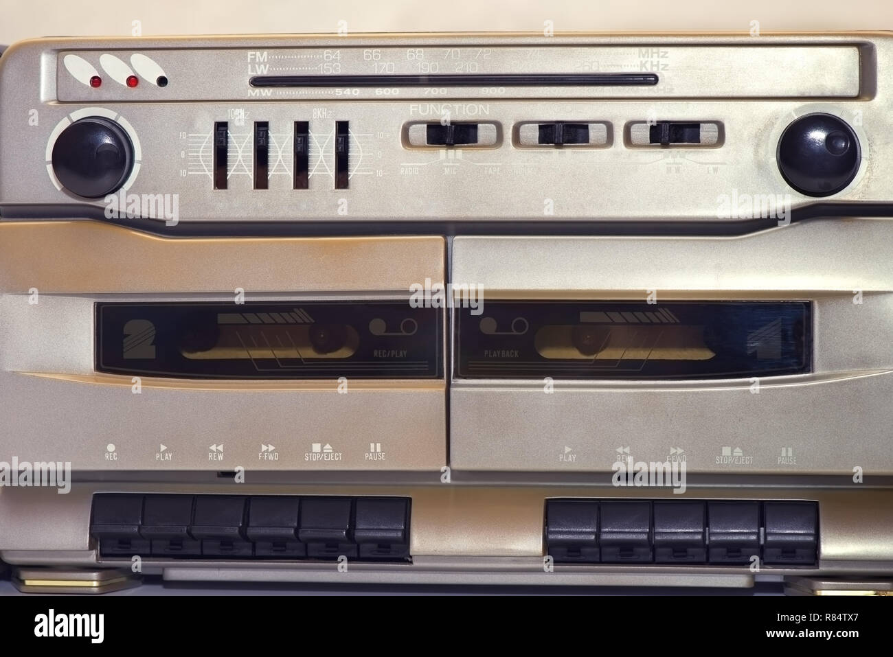 Vintage stereo radio cassette player, detail - Image - Stock Image
