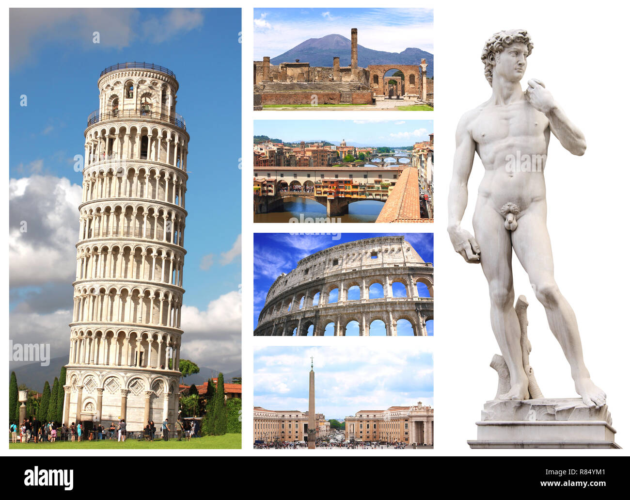 Collection - famous places of Italy - Stock Image