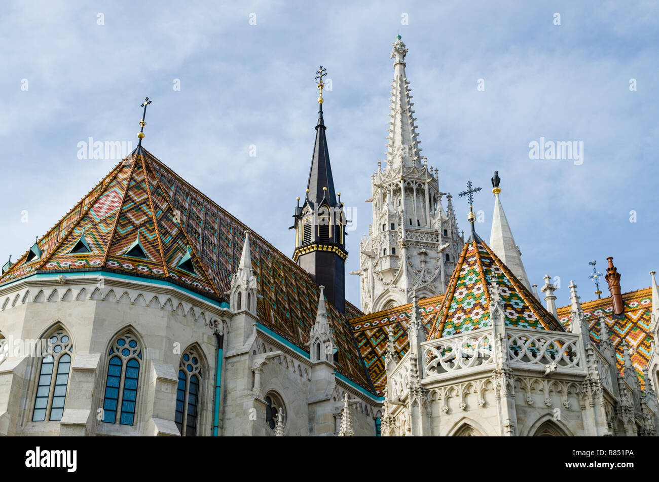 Matthias church spires, Castle hill, Budapest, Hungary - Stock Image