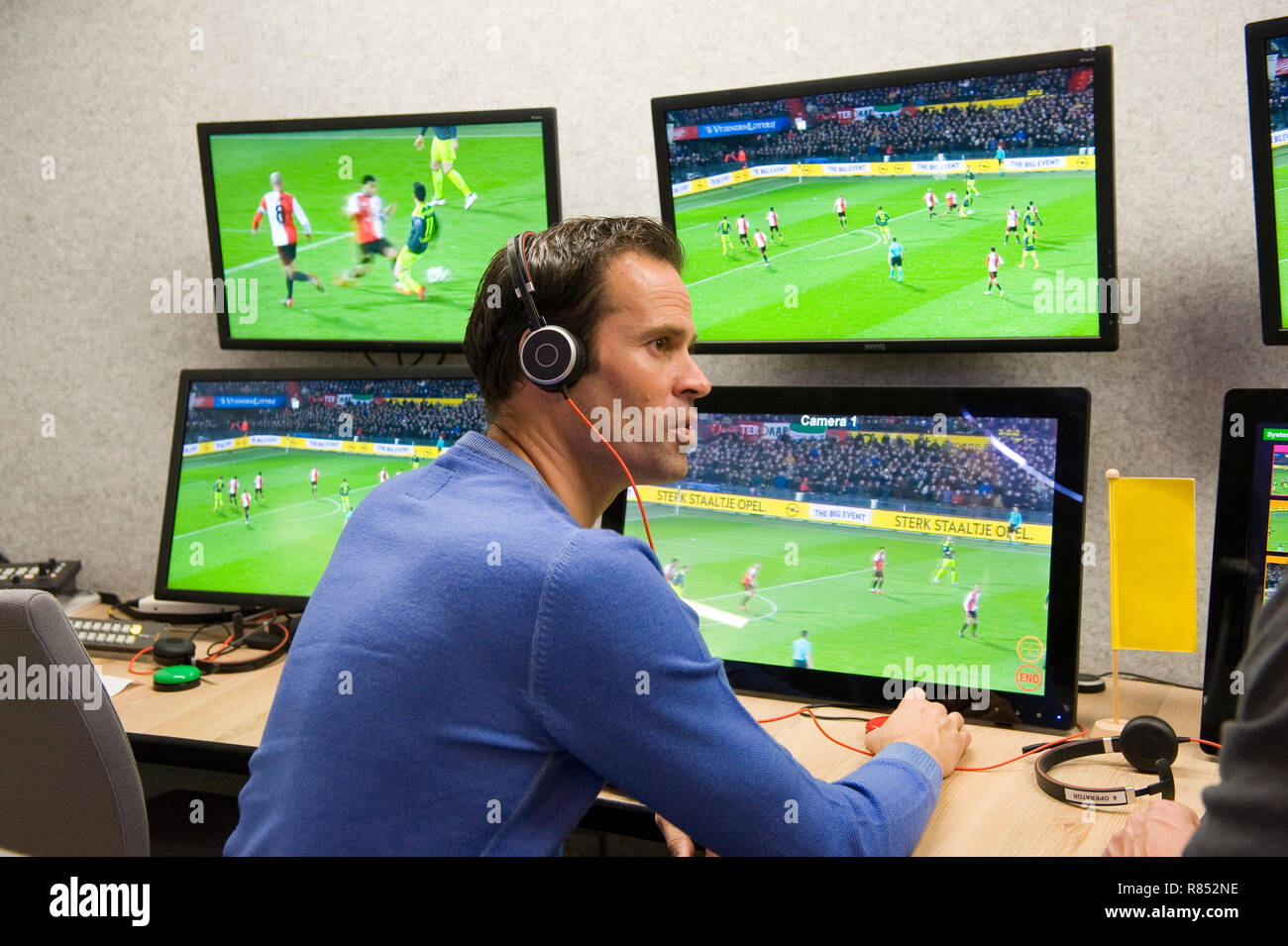 VAR referee Bas Nijhuis working at the VAR center in the headquarters of the Dutch football association. Stock Photo