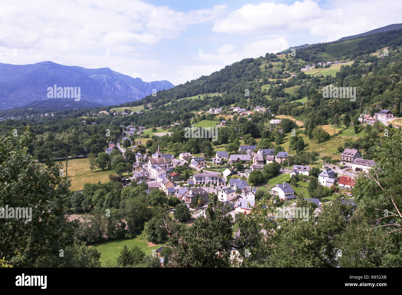 The village of Baucens in the Pyrenees. Department of Hautes-Pyrenees.France. - Stock Image