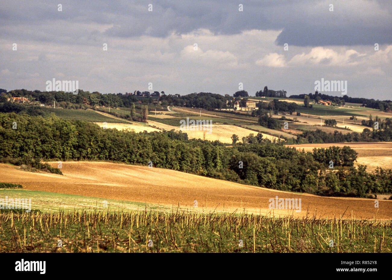 The countryside of northern Gers around the town of Condom and the fortified village of Larressingle .Southwest France - Stock Image