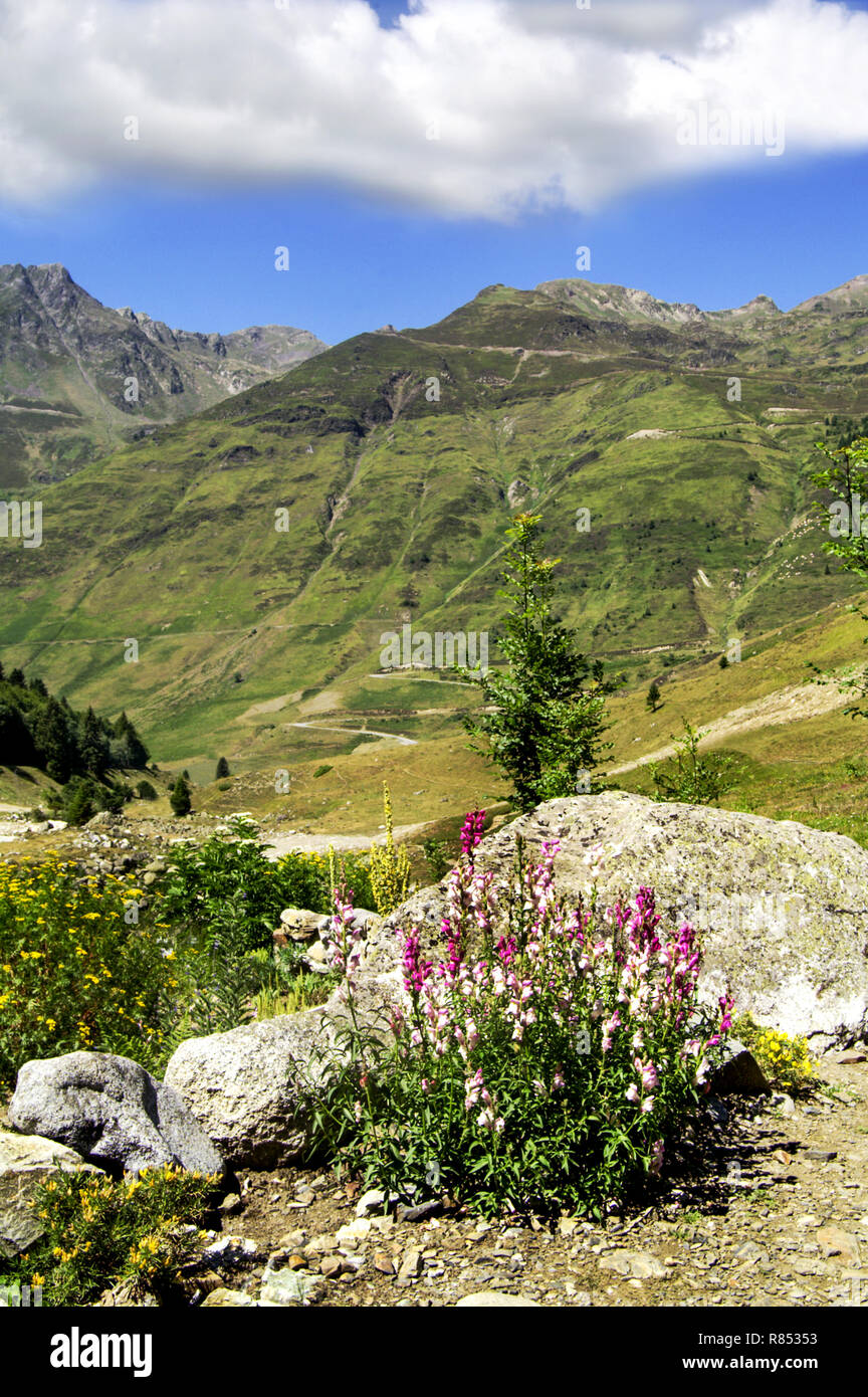 The Pyrenees.Department of Hautes-Pyrenees.France.On route to the Col du Tourmalet. - Stock Image