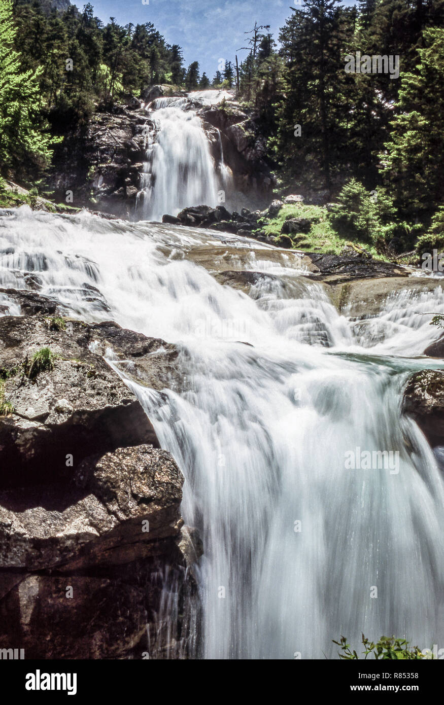 The Pyrenees.Department of Hautes-Pyrenees.France.Dramatic waterfall near Pont Espagne. - Stock Image