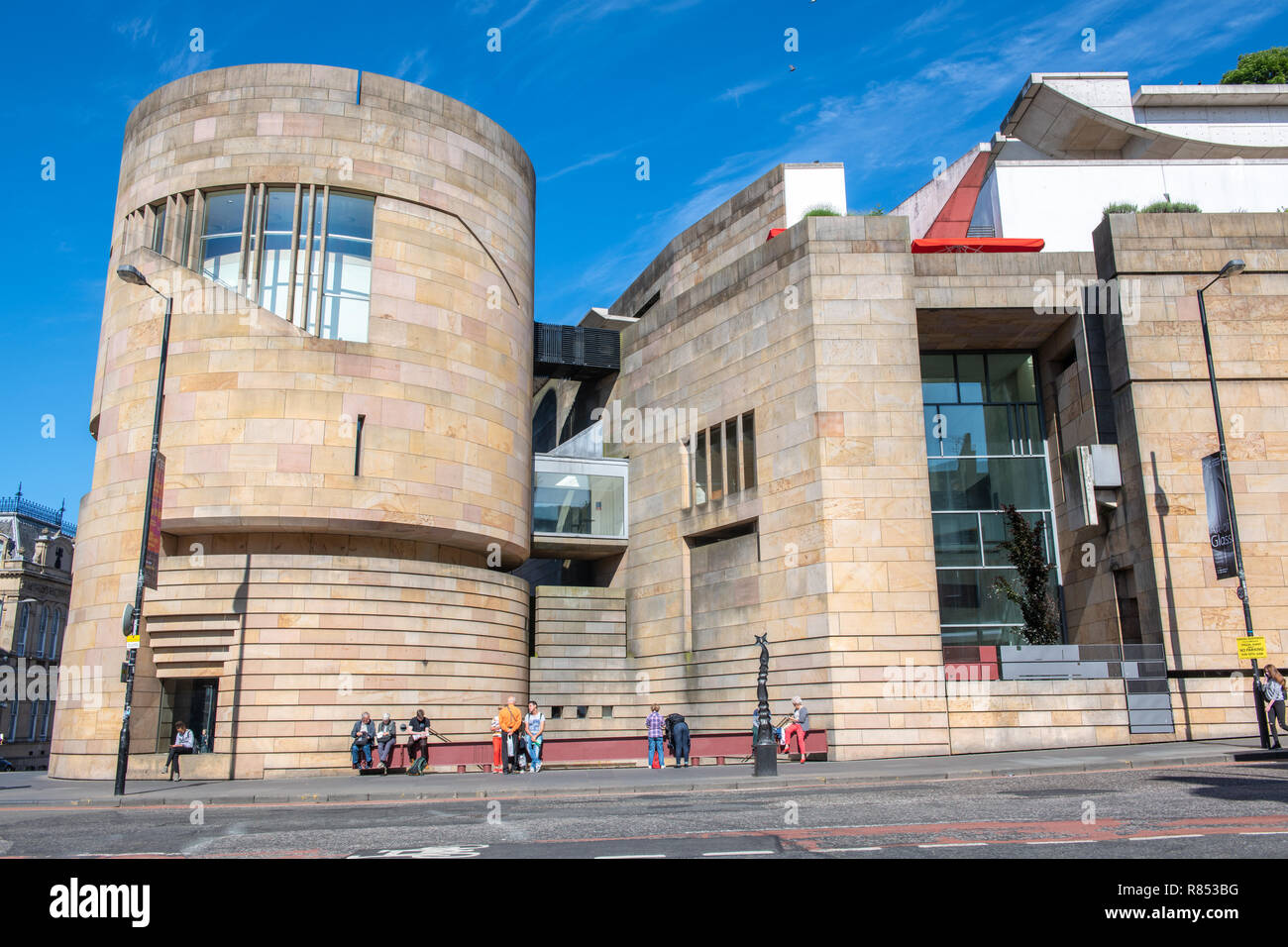 The National Museum of Scotland stands out for its unique romanesque revival architecture in the center of Edinburgh, Scotland, UK. - Stock Image