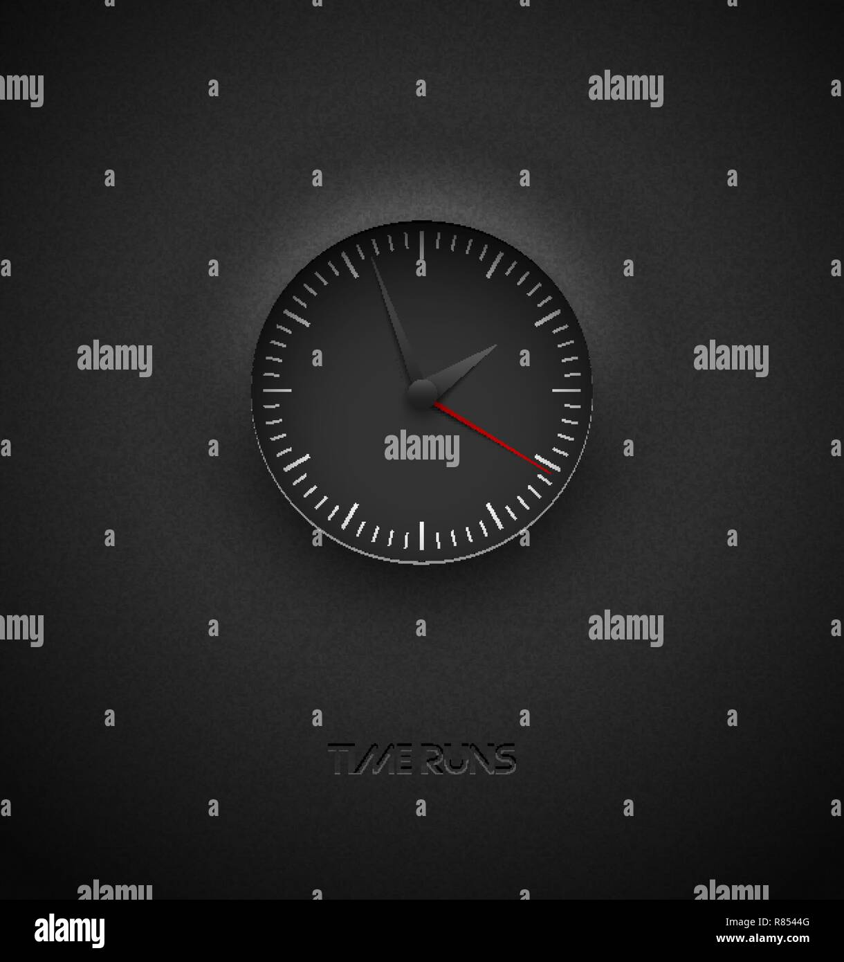 Realistic deep black round clock cut out on textured plastic dark background. White simple modern round scale. Vector icon design or ui screen - Stock Image