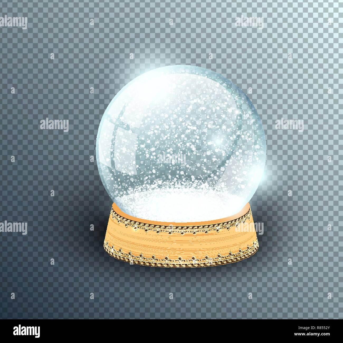 bf8c1c88a0d3a Vector snow globe empty template isolated on transparent background.  Christmas magic ball. Glass ball