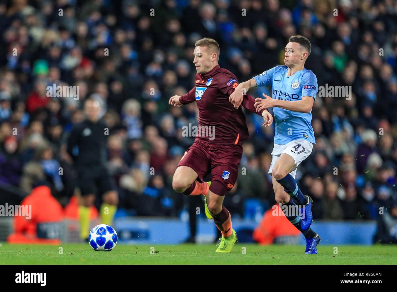 12th December 2018, Etihad Stadium, Manchester, England; UEFA Champions League, Manchester City v TSG 1899 Hoffenheim ;   Credit: Mark Cosgrove/News Images - Stock Image