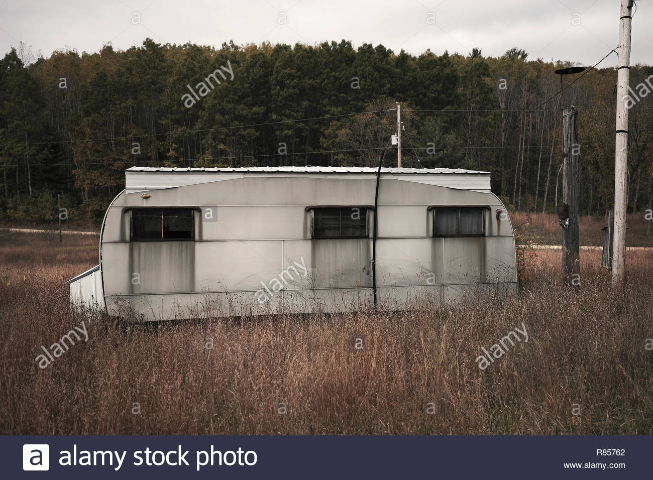 Abandoned trailer park in North Michigan, USA Stock Photo
