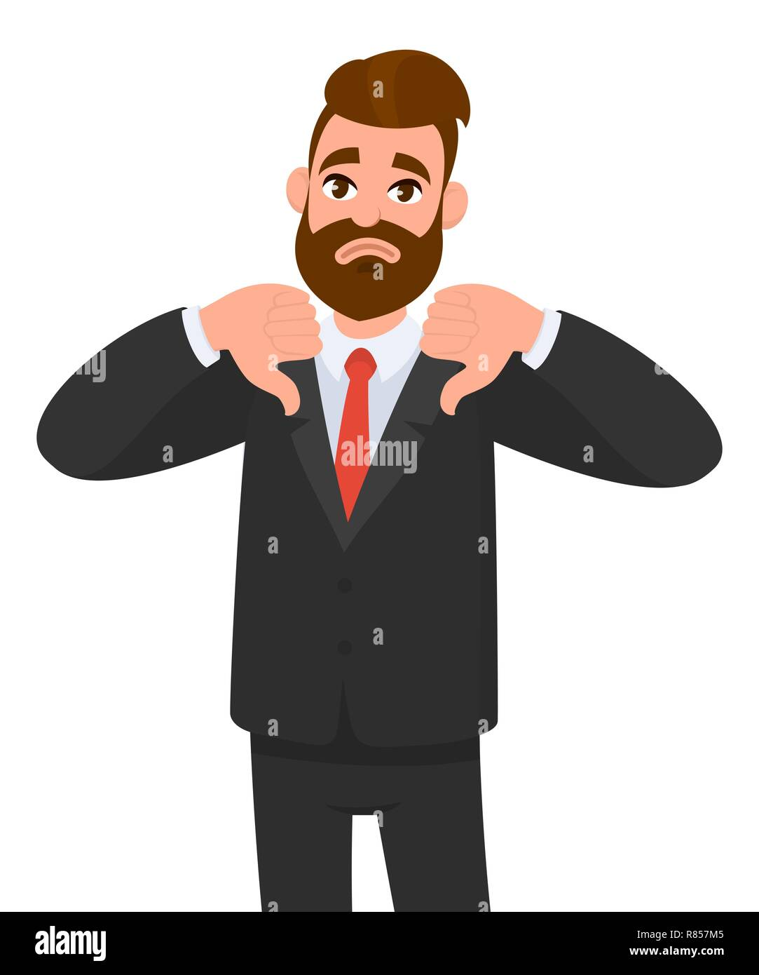 Young business man showing thumbs down sign, dislike, looks with negative expression and disapproval. Disagreement, disgust and negative expressions. - Stock Image