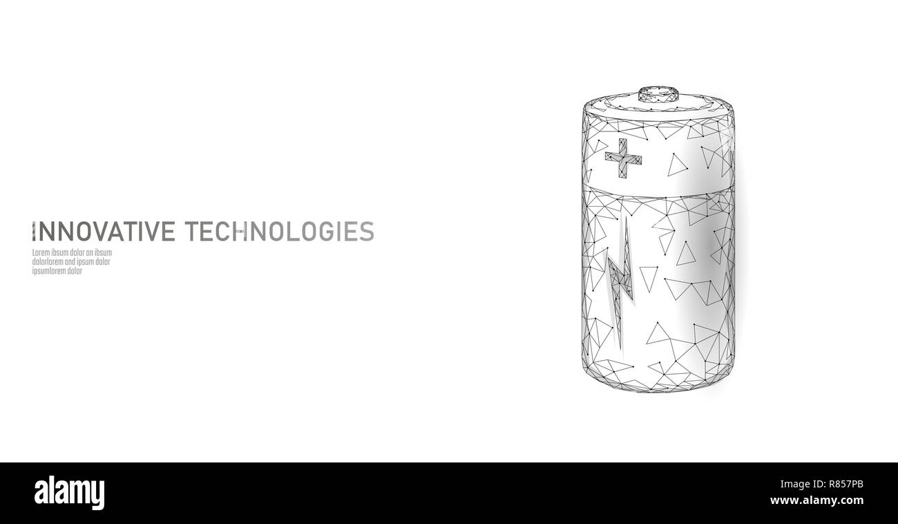 Fully charged polygonal alkaline battery. Energy power storage electric rechargeable supply. White neutral gray low poly polygon particle space dark sky industry technology concept vector illustration - Stock Vector