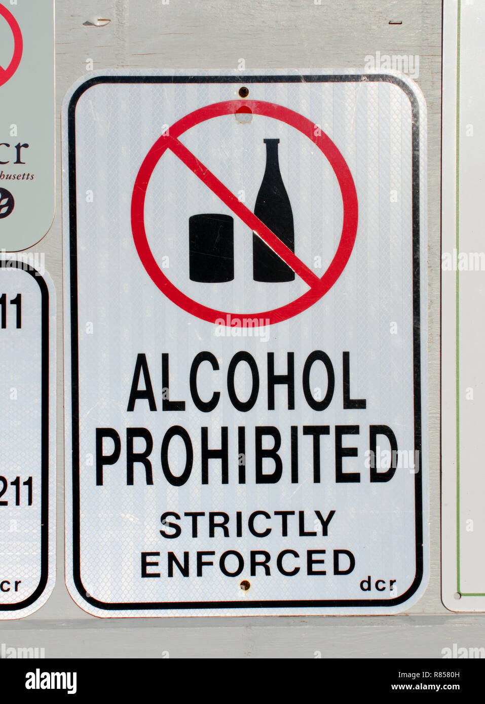 Alcohol Prohibited Strictly Enforced sign meaning no alcohol is allowed at Scusset Beach in Sagamore, Bourne, Cape Cod, Massachusetts USA - Stock Image