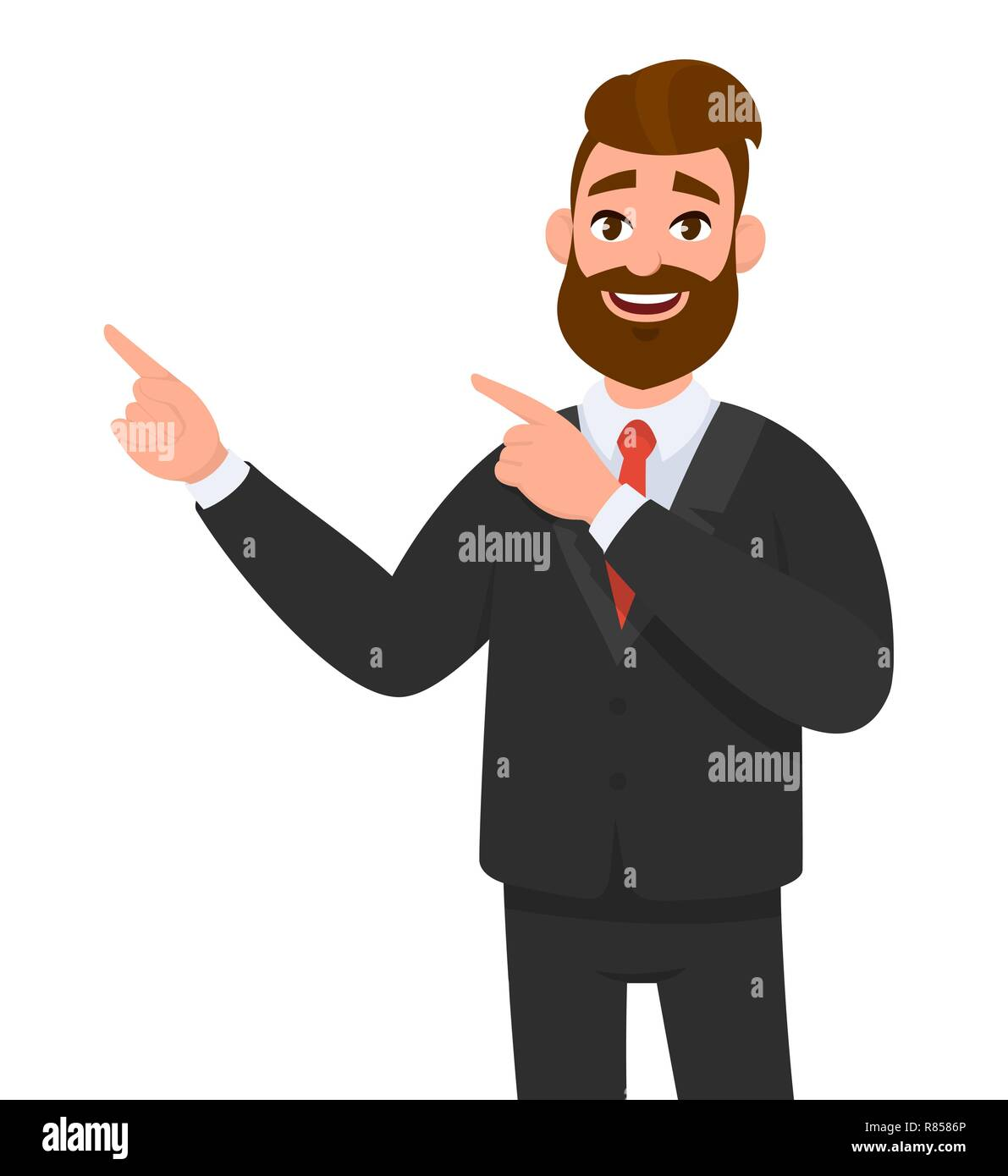 Happy businessman pointing hand gesture copy space to present or introduce something. Presentation, advertisement, introduce concept illustration in v - Stock Vector