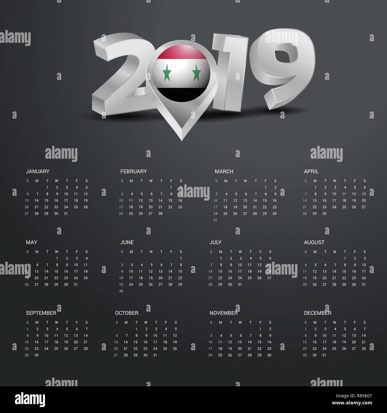 2019 Calendar Template Grey Typography With Syria Country Map Golden Header