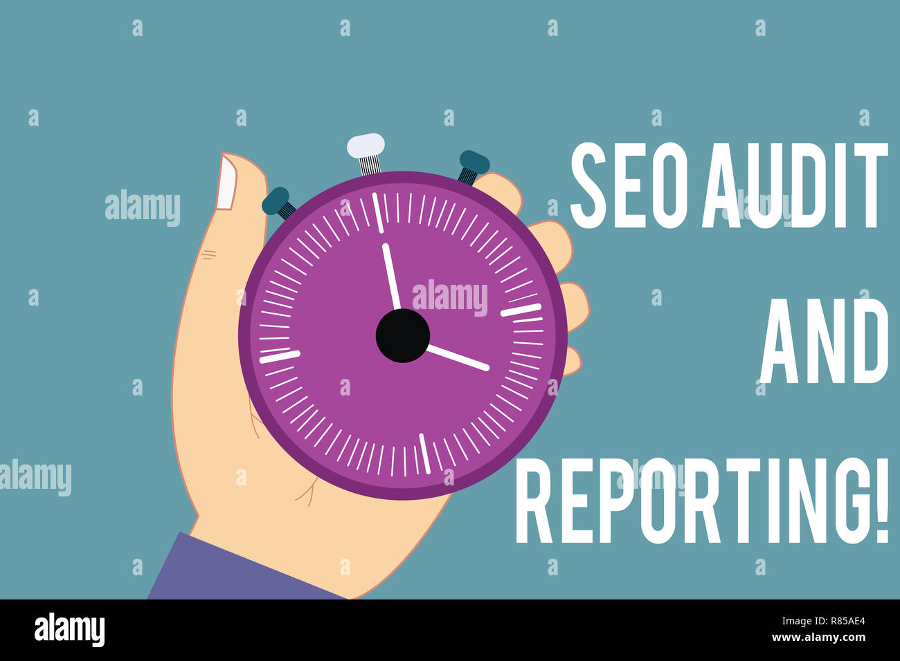 Conceptual hand writing showing Seo Audit And Reporting. Business photo text Search Engine Optimization review feedback Hu analysis Hand Holding Stop  - Stock Image
