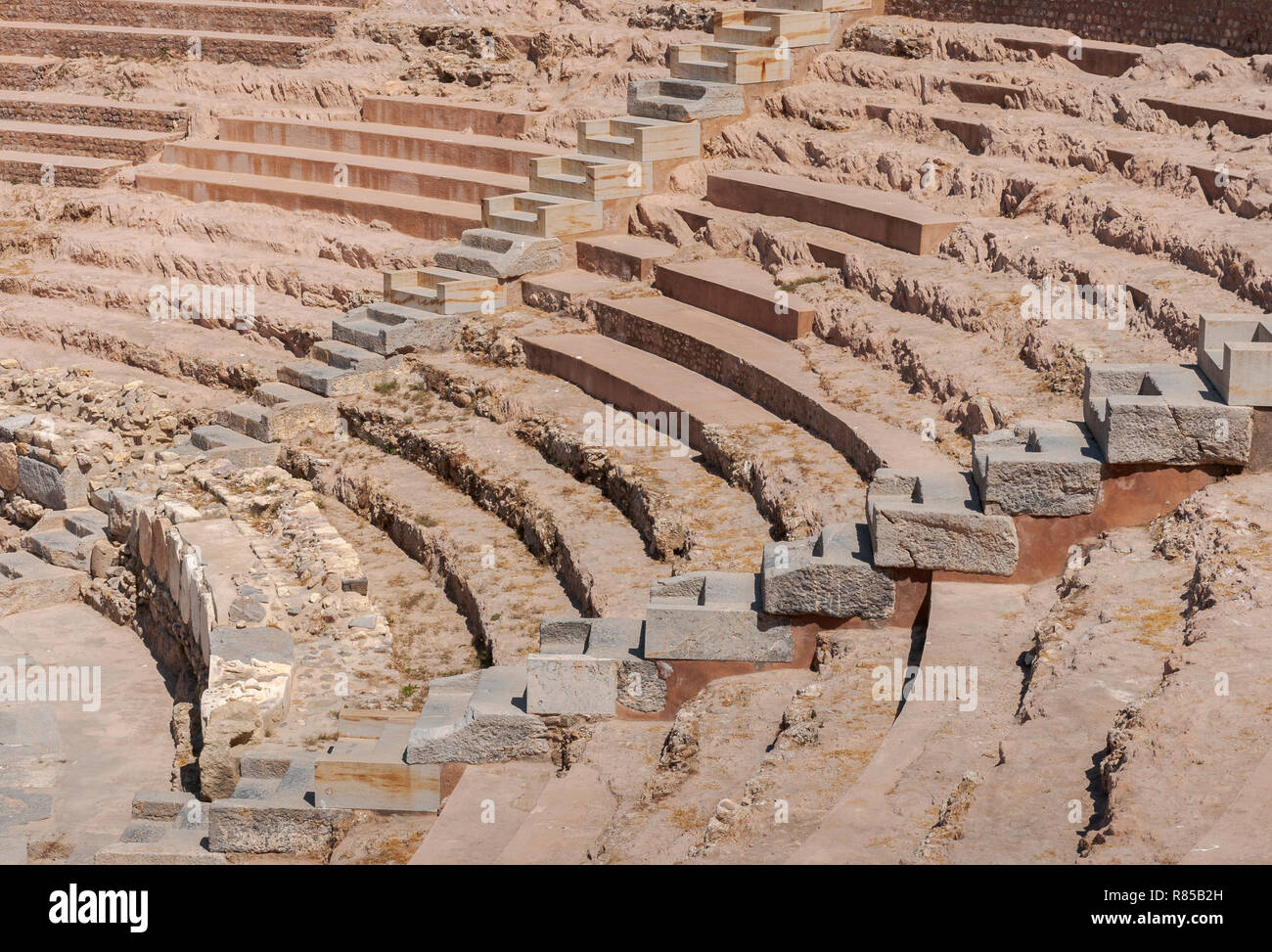 Views of the Roman Theatre of Cartagena, Spain. It was built around the year 5 BC. Stock Photo