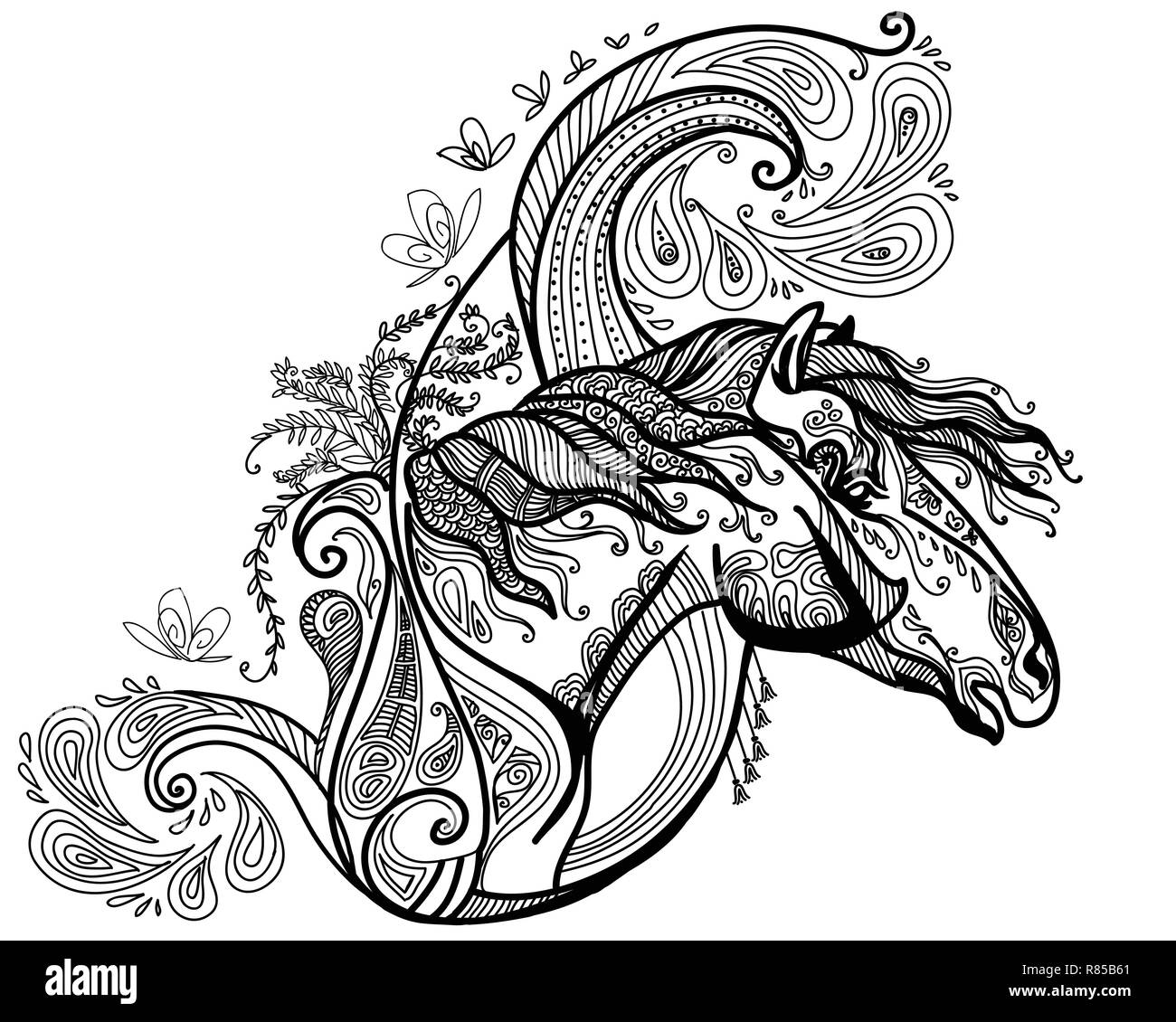 Vector Hand Drawing Illustration Zentangle Horse In Black Color