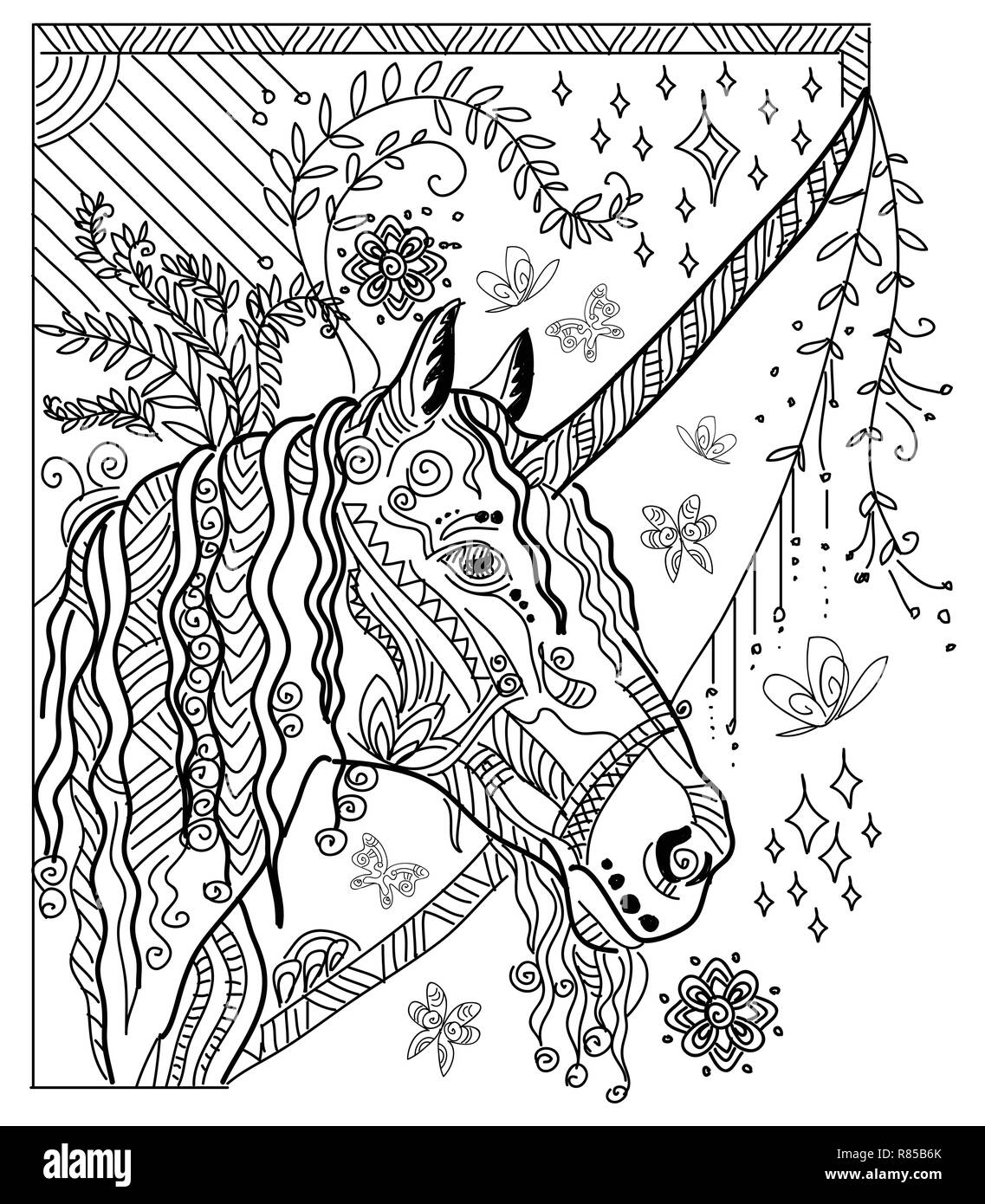 Vector Hand Drawing Illustration Zentangle Unicorn In Black Color