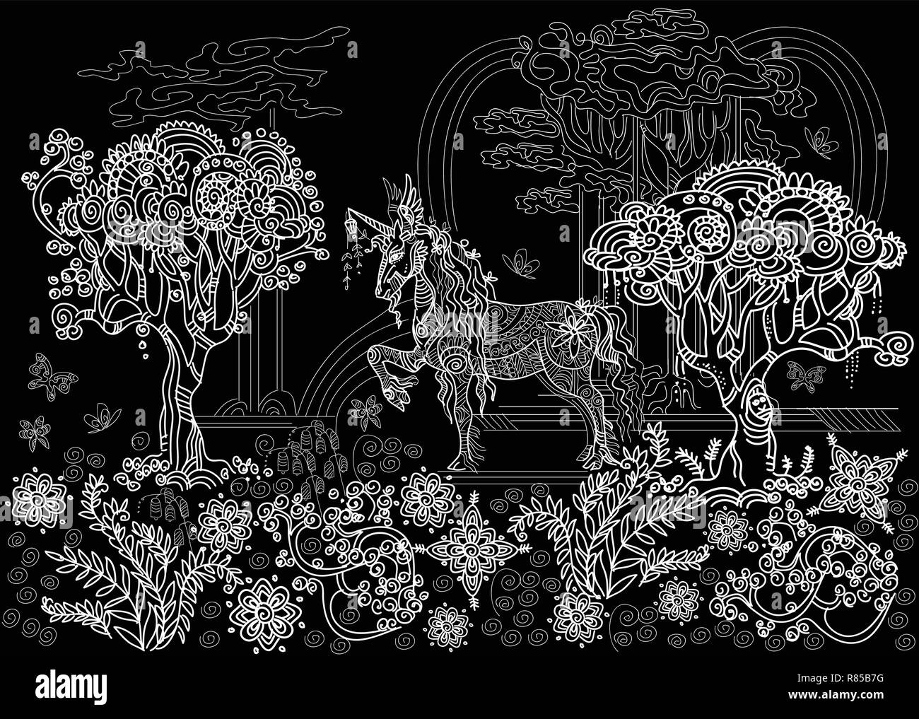 Vector Hand Drawing Illustration Zentangle Unicorn With Trees And