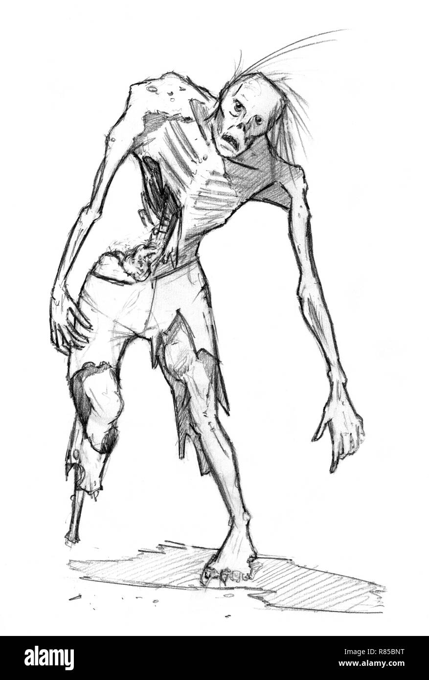 Black grunge rough pencil sketch of zombie