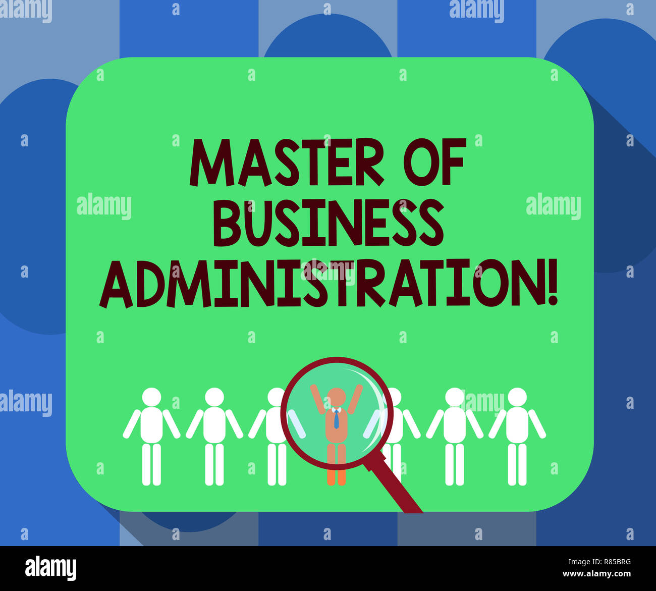 Handwriting Text Writing Master Of Business Administration Concept Meaning Post Graduate Education Finances Magnifying Glover Chosen Man Figure A