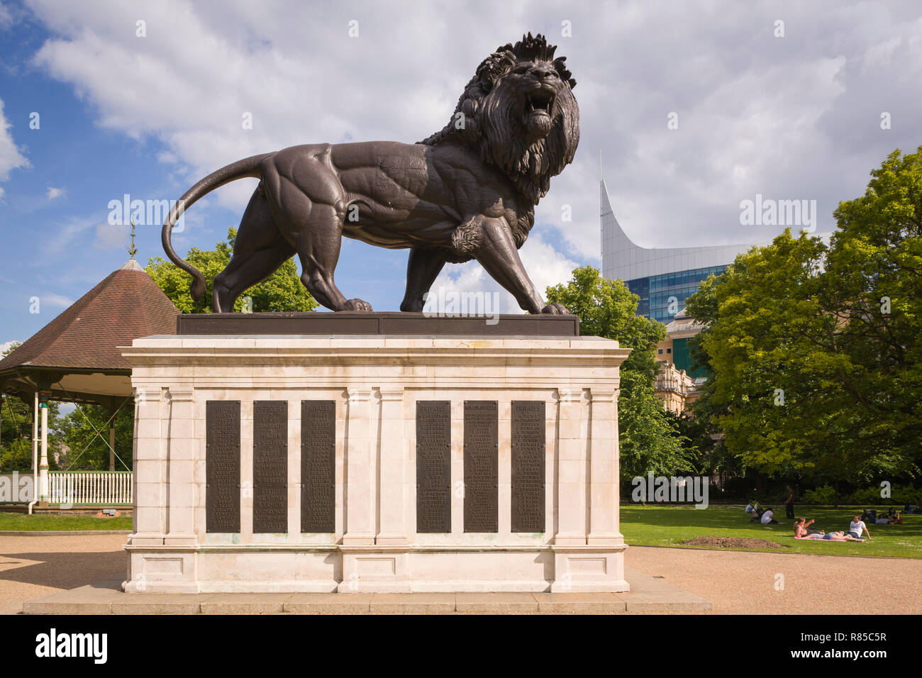 The Maiwand Lion, commonly known as the Forbury Lion, a memorial for those lost in the Second Anglo-Afghan War, Reading, Berkshire - Stock Image