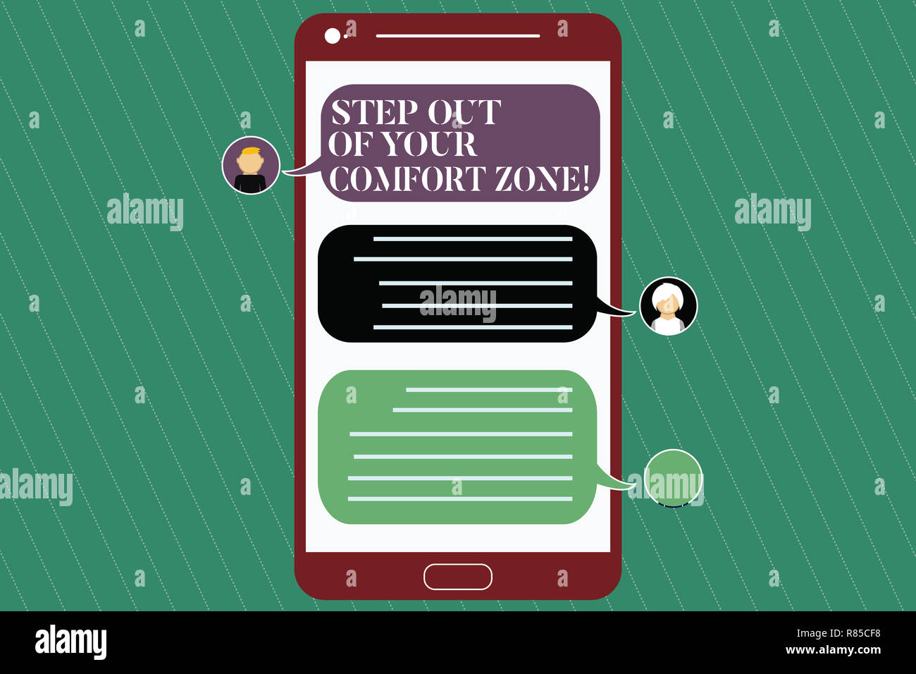 Writing note showing Step Out Of Your Comfort Zone. Business photo showcasing Do different things leave the routine Mobile Messenger Screen with Chat  Stock Photo