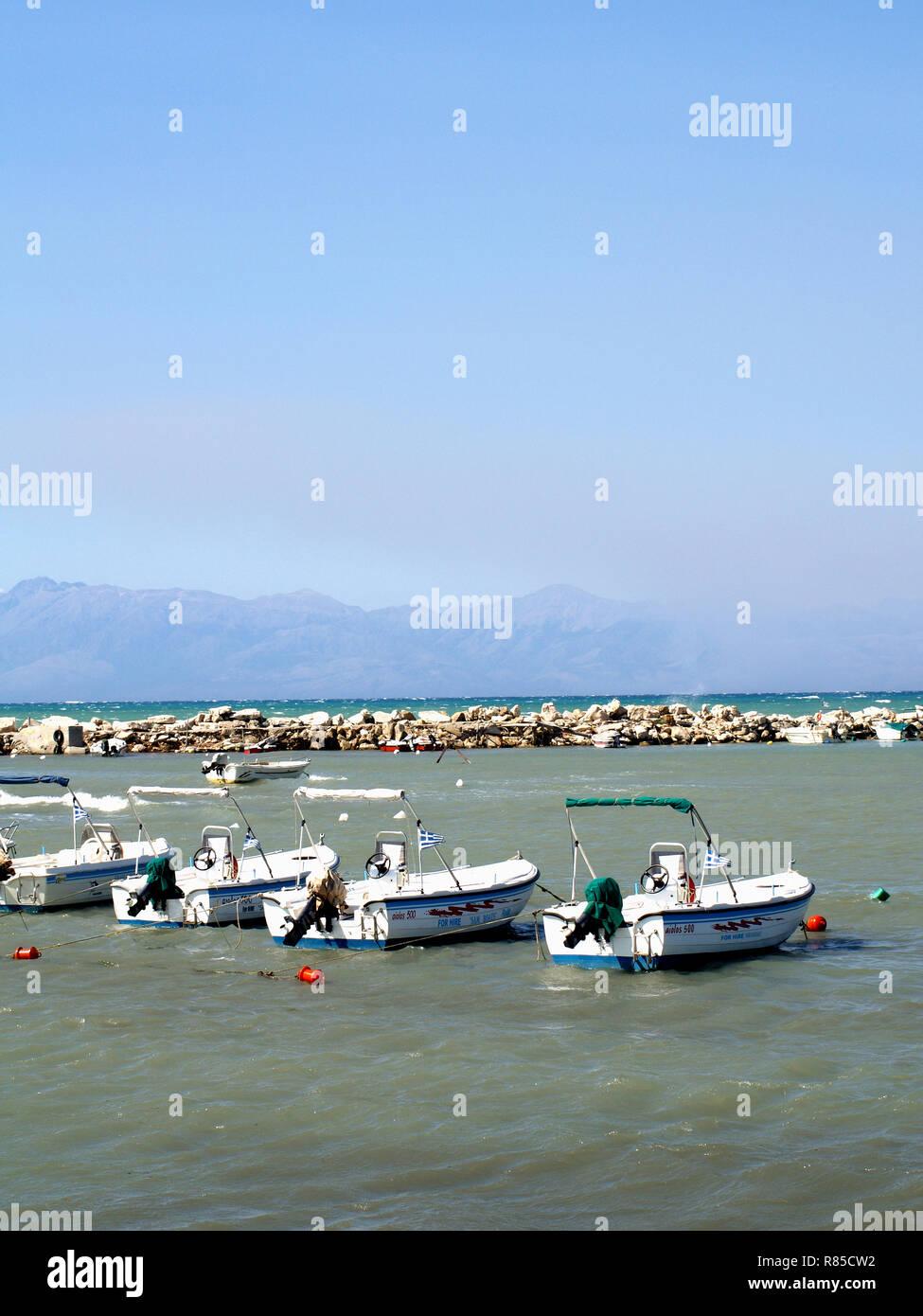 Boats For Hire, Roda, Corfu, Greece - Stock Image