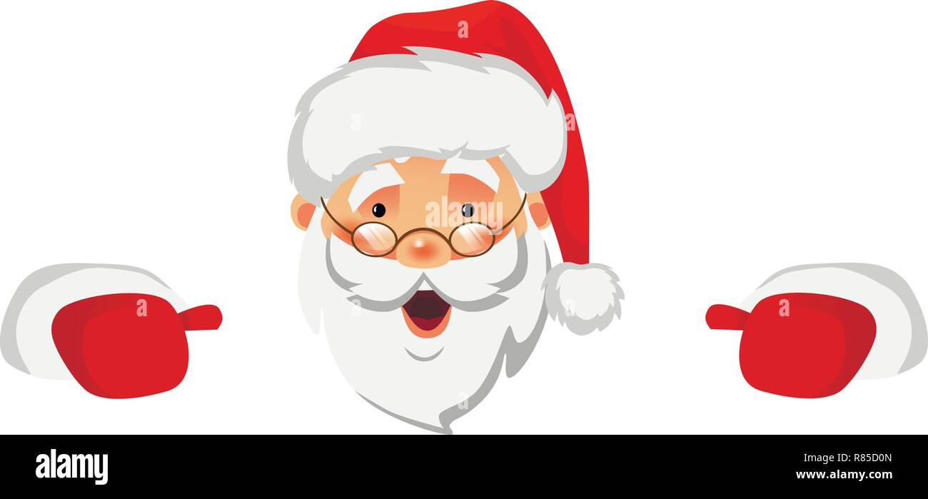 Santa Claus holding border. Christmas blank advertising banner. Face of Santa Claus in red hat vector illustration - Stock Vector