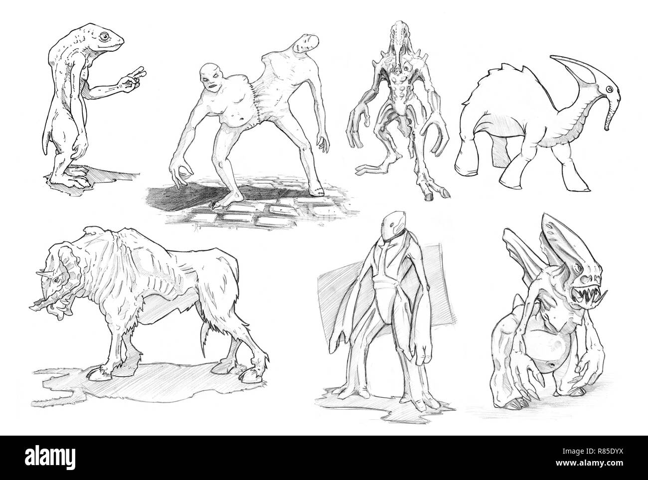 Set of Pencil or Ink Drawings of Various Fantasy or Sci-fi Monsters - Stock Image