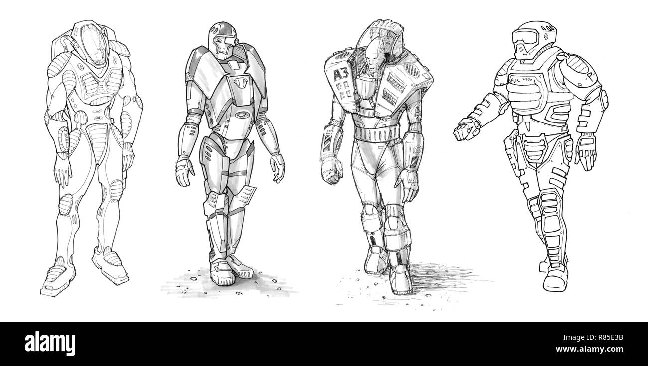 Set of Rough Ink Drawings of Various Characters in Sci-fi Suit - Stock Image
