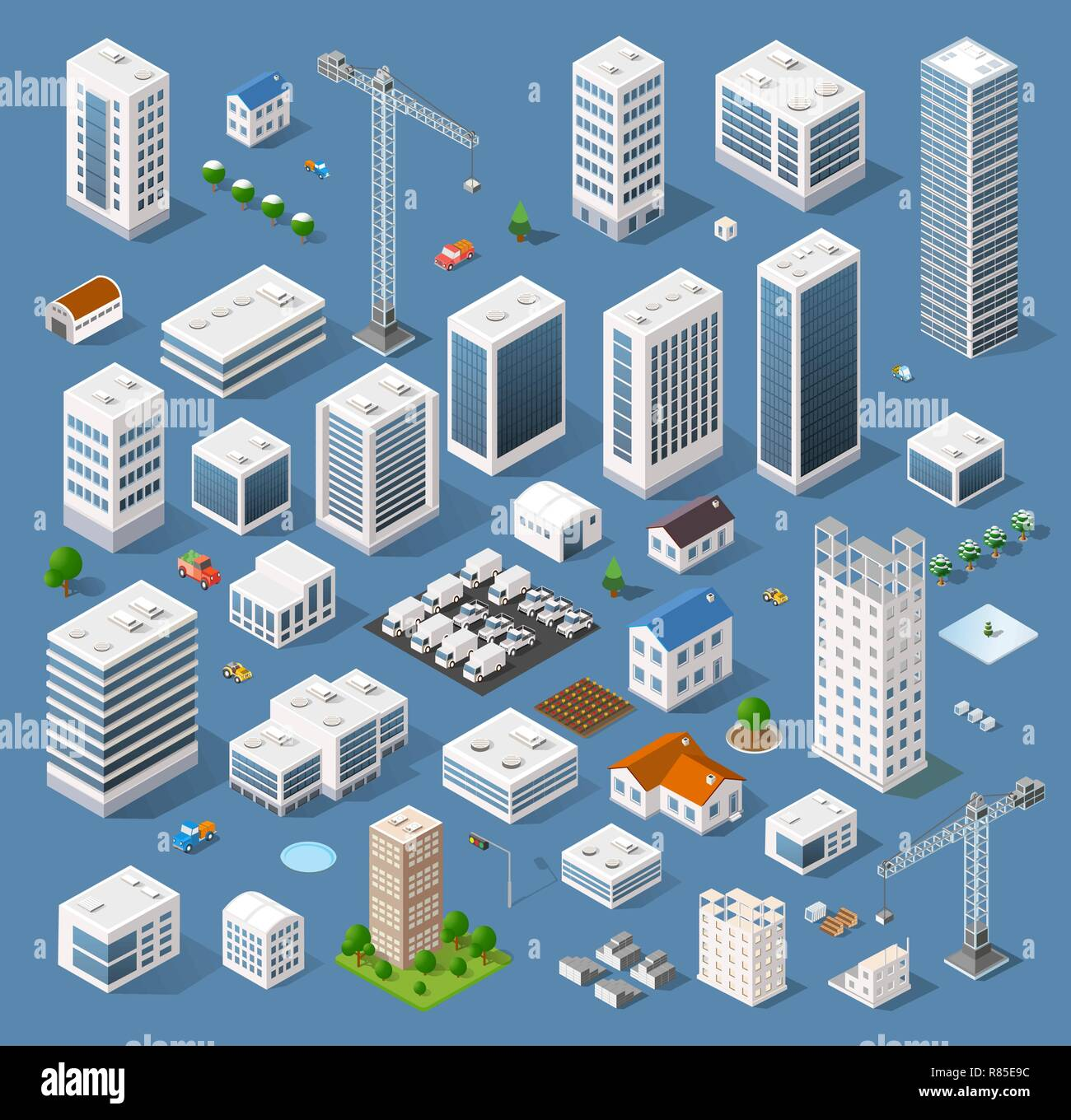 Industrial based on isometric projection of a three-dimensional houses, buildings, cranes, cars and many other design elements necessary creative desi - Stock Vector