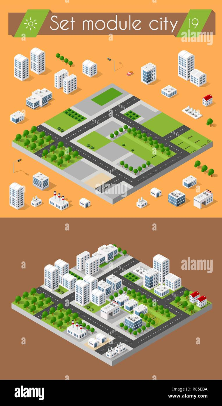 Cityscape design elements with isometric building city map