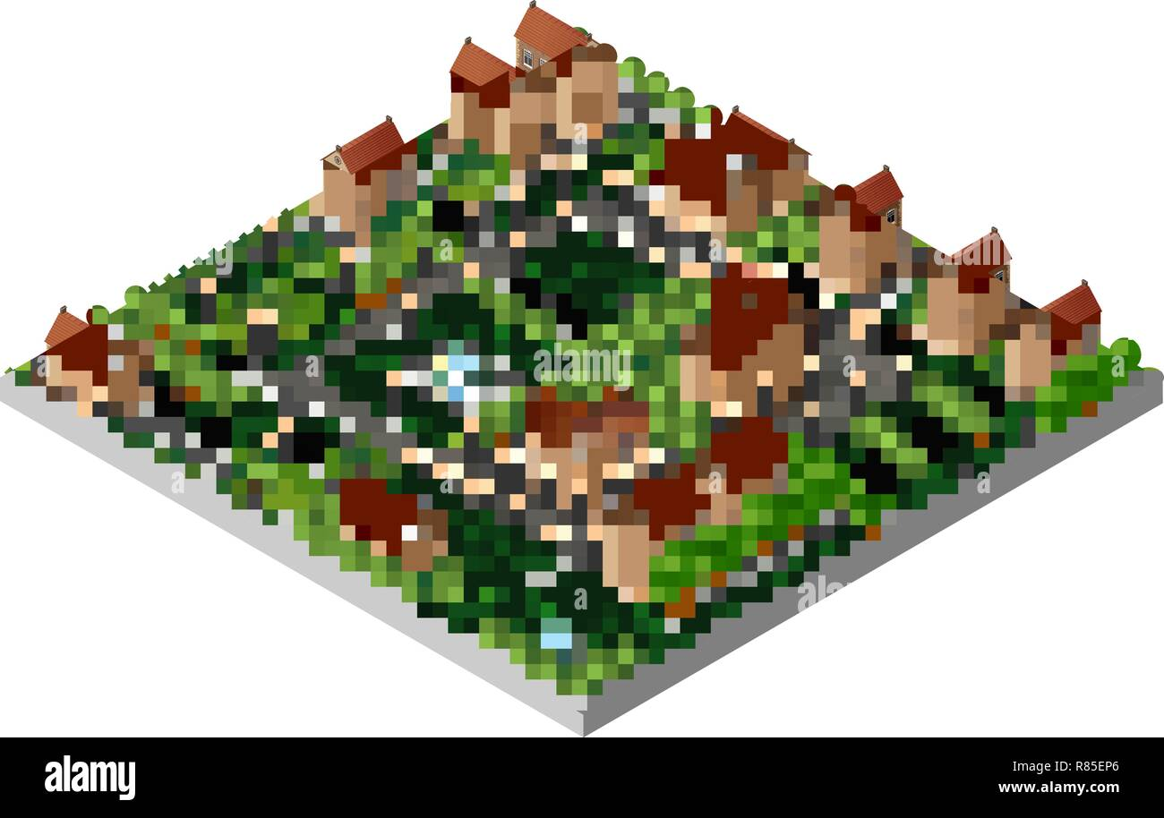 Architecture retro isometric 3D city historic educational