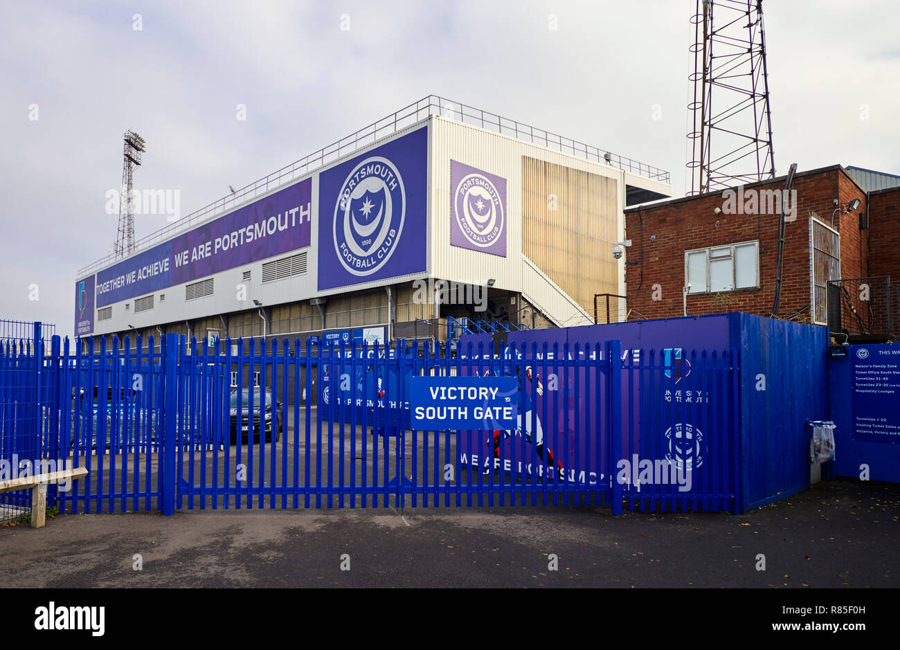 Victory south gate at Fratton park football ground in Portsmouth - Stock Image