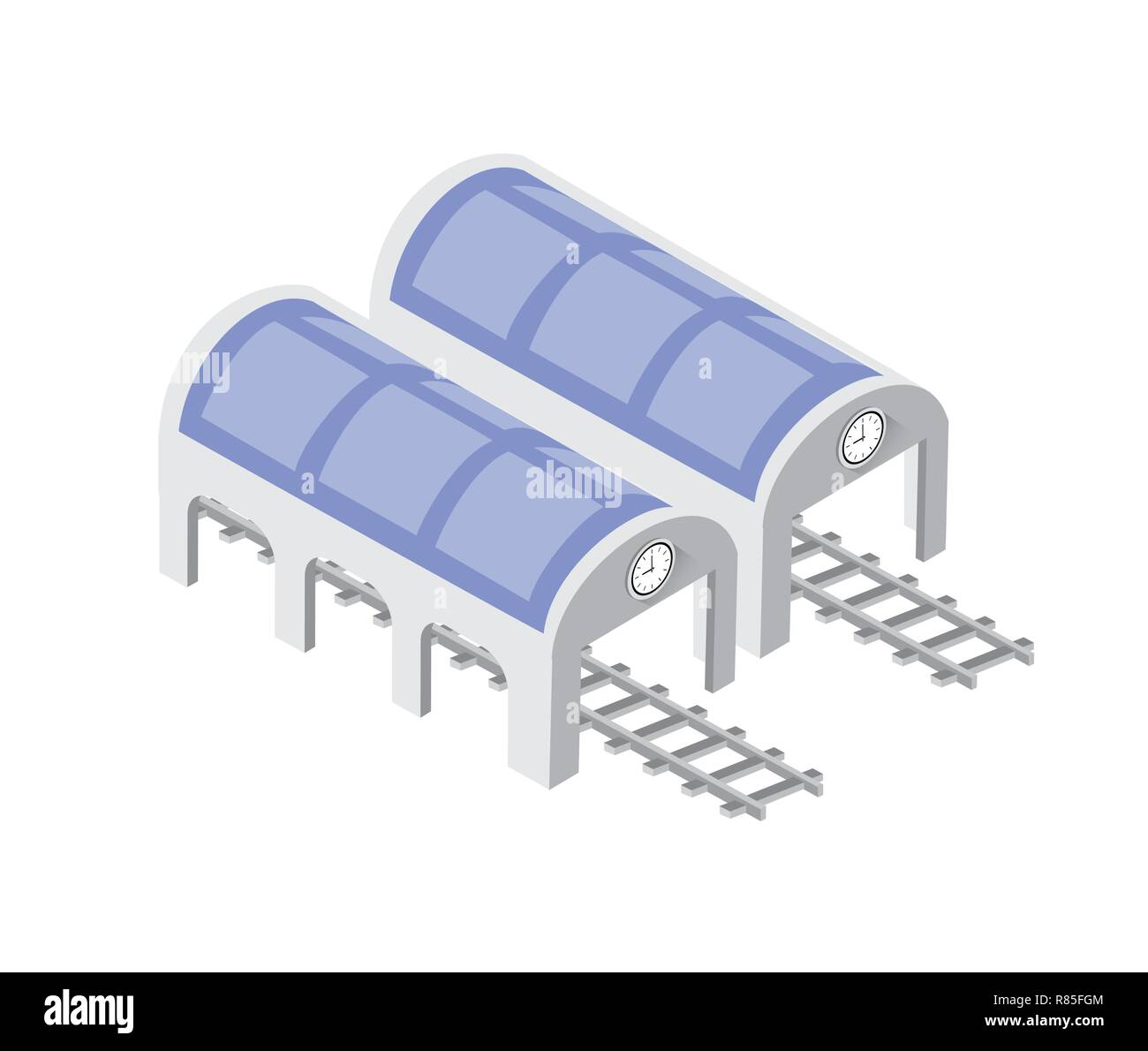 Fast modern high speed train. Vector flat 3d isometric illustration of public transport. Freight transportation to carry large numbers of passengers.  - Stock Image