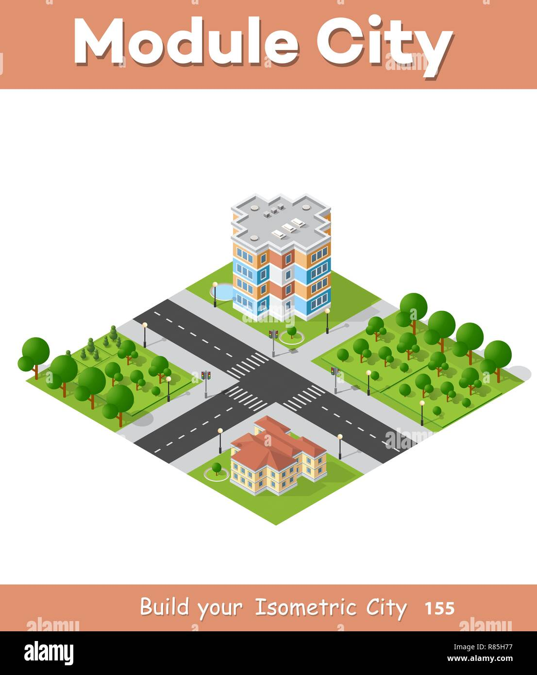 City block quarter district isometric 3D landscape of the town. Top view of dimensional area modern houses and skyscrapers of urban blocks Stock Vector