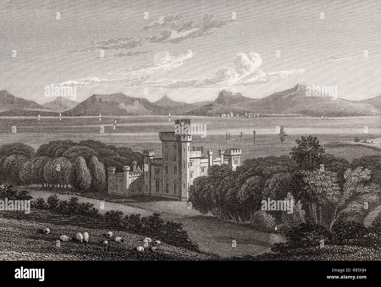 Armadale Castle, Scotland, 19th century, from Modern Athens by Th. H. Shepherd - Stock Image