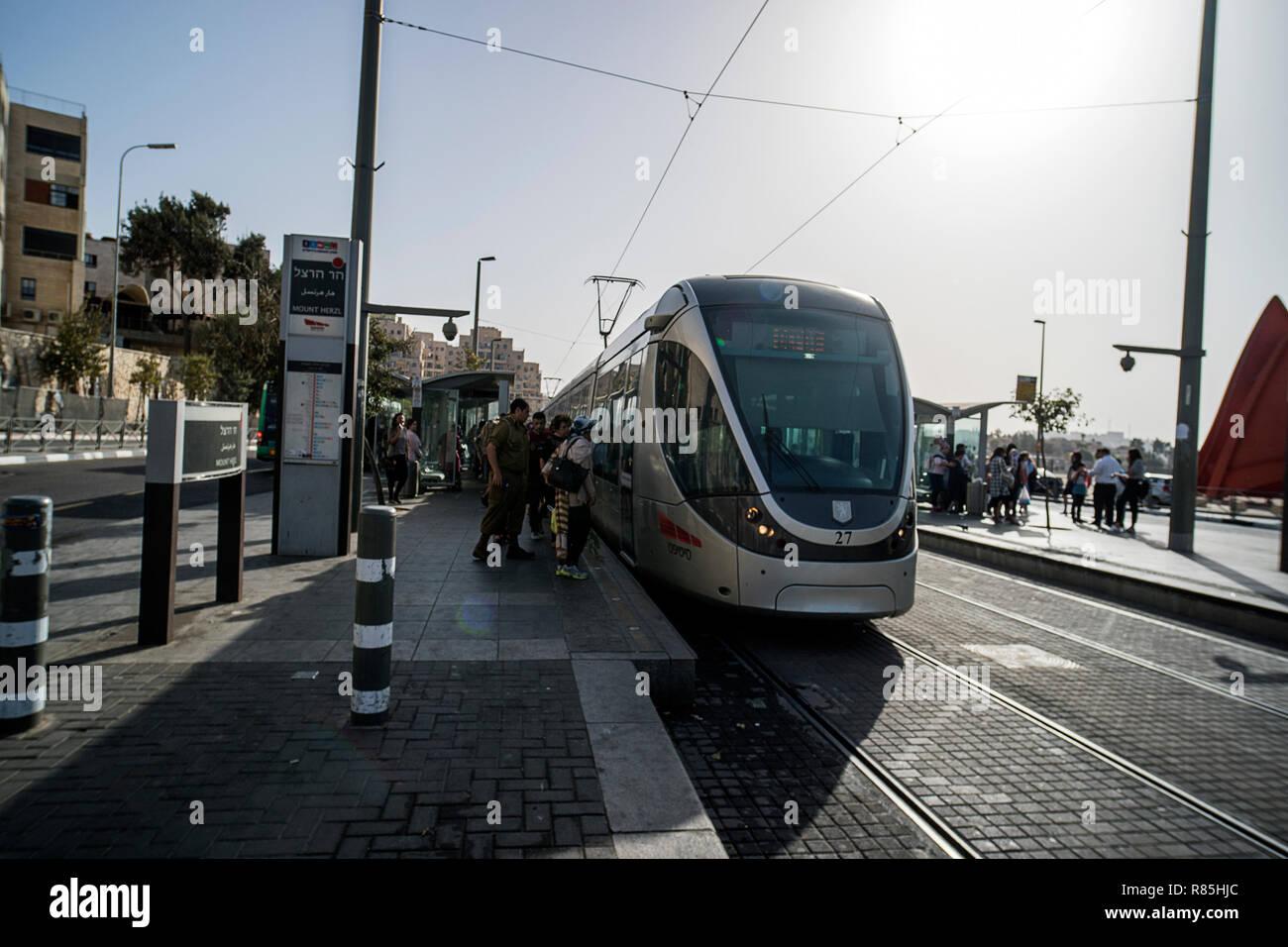 Jerusalem Light Rail tram train on Jaffa road. JERUSALEM, ISRAEL. 24 October 2018. - Stock Image