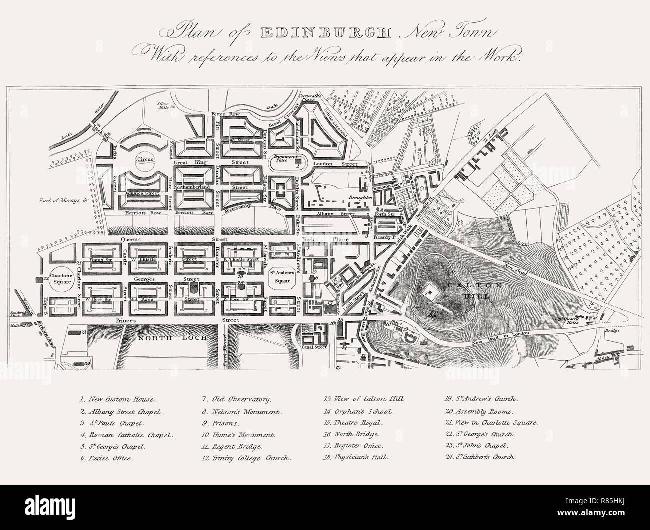 Plan of Edinburgh, New Town in 1820, Scotland, 19th century, Views in Edinburgh by J. & H. S. Storer, 1820 - Stock Image