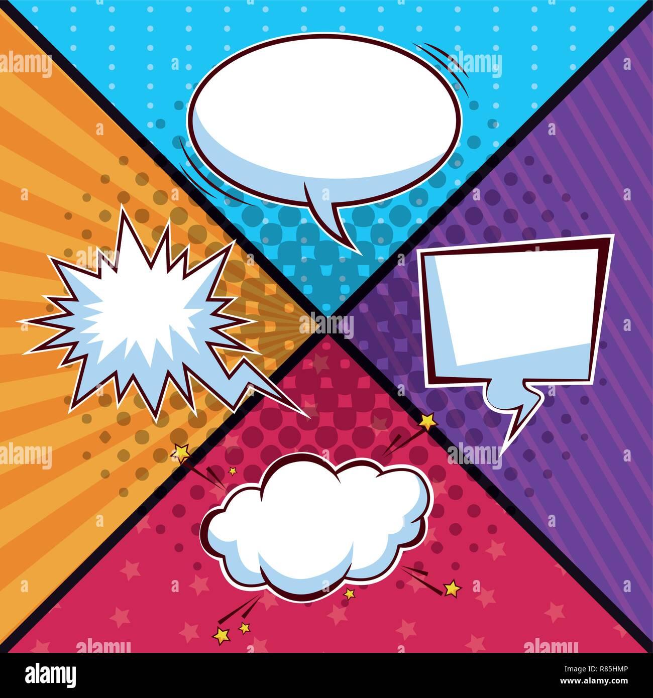 Pop art bubbles cartoons Stock Vector