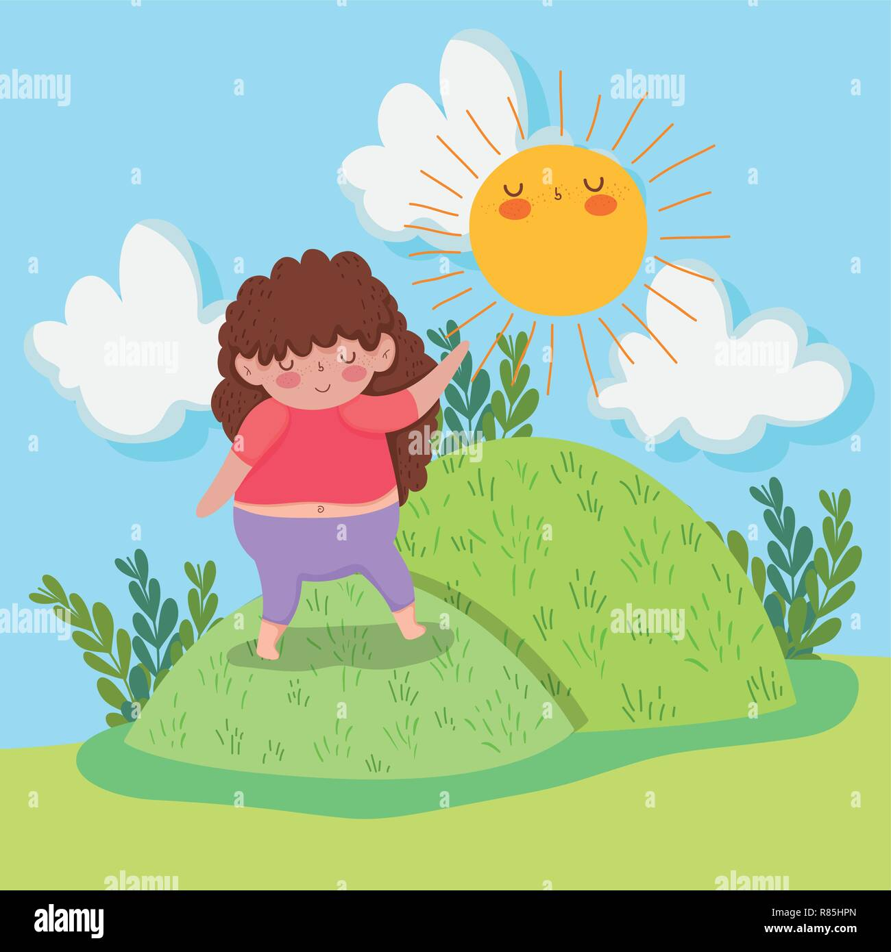Cute Girl Game In The Mountains With Sun And Plants Stock Vector