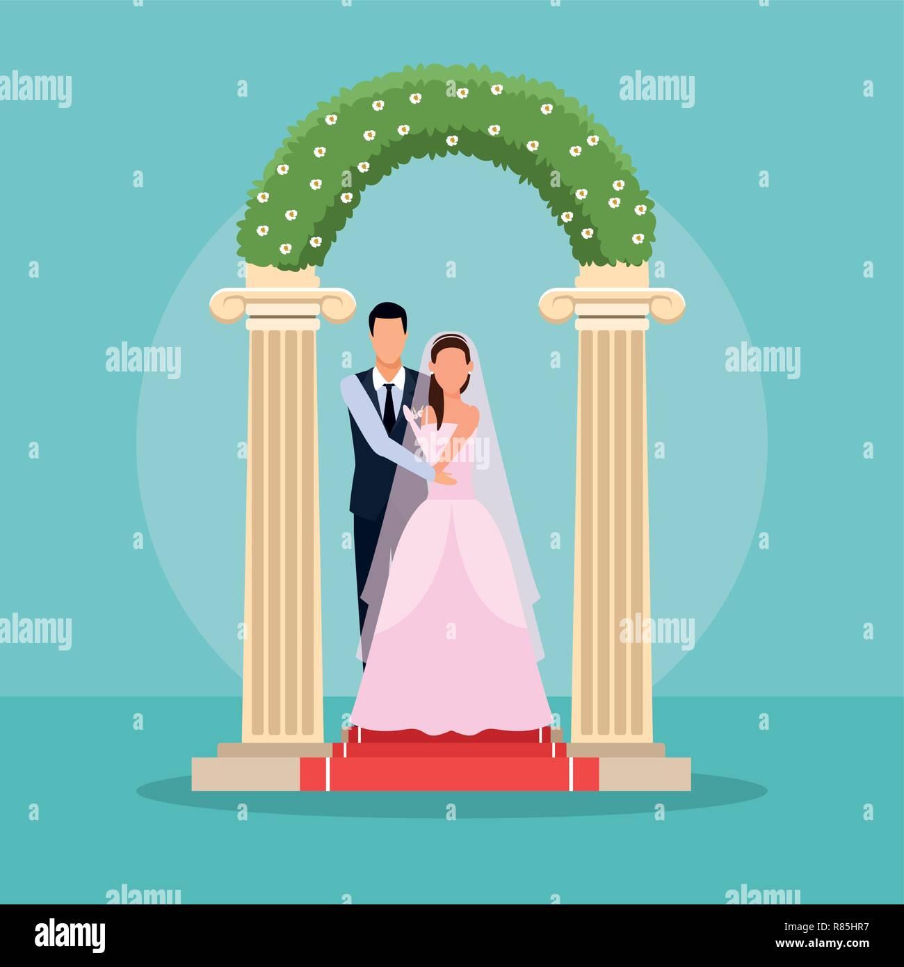 Wedding Couple Cartoon Stock Vector Image Art Alamy