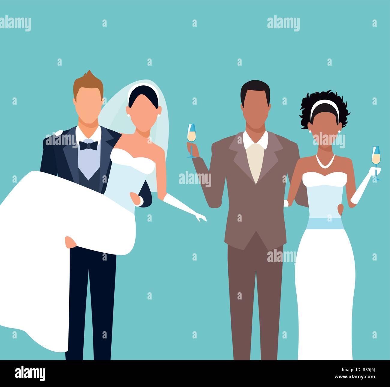 Wedding Couples Cartoon Stock Vector Art Illustration Vector